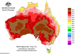 Aust heat record high temp weather map